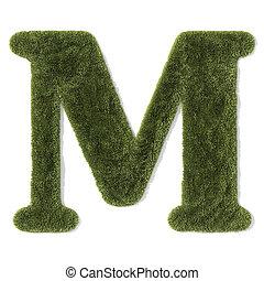 -, lettertype, m, brief, gras