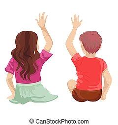 -, leur, garçon, dos, mains, asseoir, haut., élevé, vecteur, illustration, enfants, girl