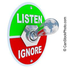 -, leva articolata, ignorare, interruttore, vs., ascoltare