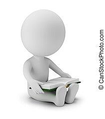 -, lezen, mensen, kleine, 3d, boek