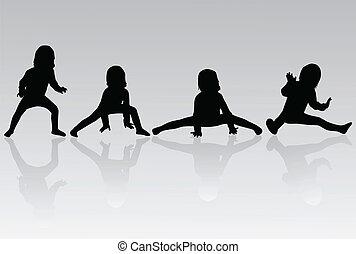 -, litet, gymnastik, silhuett, flicka
