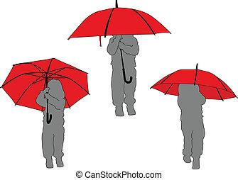 -, litlle, wektor, parasol, dziewczyna