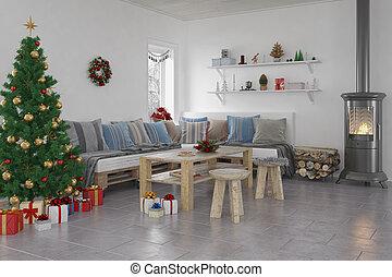 -, livingroom, weihnachten, 3d