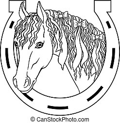-, livro, desenho, cavalo, charme, sorte, coloração, esboço...