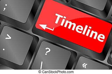 -, llaves, timeline, palabra, concepto, teclado