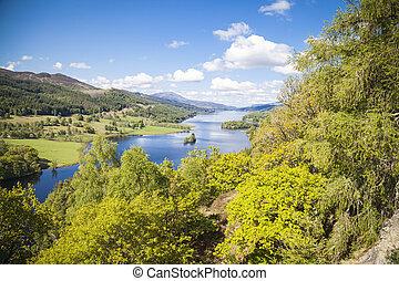 -, loch, ecosse, perthshire, tummel, reine, vu, vue