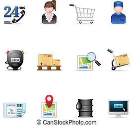 -, logístico, iconos, tela