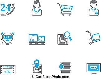 -, logistique, icônes, duotone