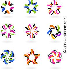 -, logotipos, abstratos, cobrança, 4, ícones