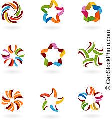 -, logotipos, abstratos, cobrança, 6, ícones