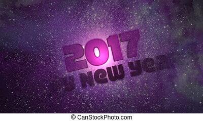 -, loopable, année, nouveau, 2017, galaxie, heureux