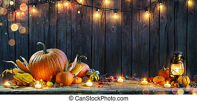 -, luces, velas, calabazas, rústico, tabla, cuerda, acción de gracias