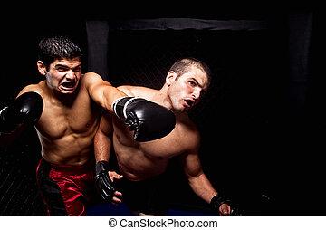 -, lucha, artistas marciales, mezclado, perforación