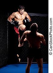 -, lucha, artistas marciales, mezclado, rodilla, huelga