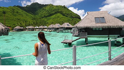 -, luxe, plage, voyage, touriste, apprécier, tahiti,...