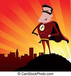 -, mâle, héros, super