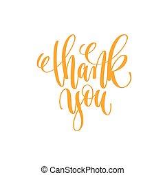 -, mão, lettering, caligrafia, citação, positivo, obrigado, ...
