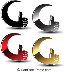 -, mão, símbolos, vetorial, gesto, escolha, melhor