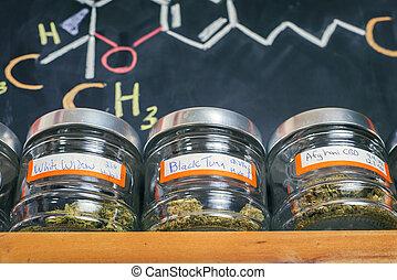 -, médico, dispensary, jarros, cannabis, conceito, marijuana