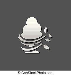 -, métallique, arbre, icône