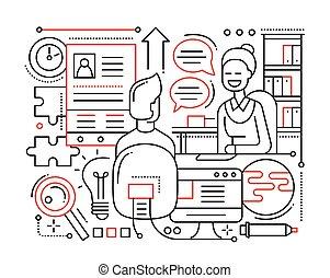 -, métier, conception, entrevue, ligne, composition