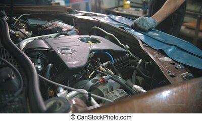 -, magasin, voiture, fonctionnement, réparation, capuchon, sous, moteur