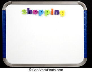 -, magnético, compras, tabla