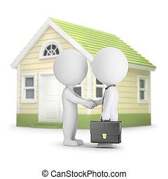 -, maison, gens, 3d, petit, achat