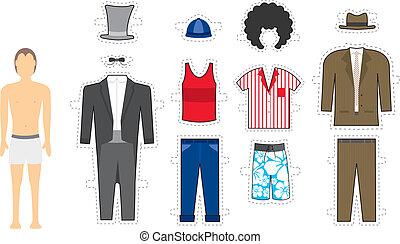 -, /, makeover, exchangeable, aussehen, mann, kostüm