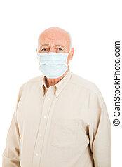 -, man, bescherming, senior, griep