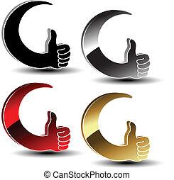 -, mano, símbolos, vector, gesto, opción, mejor