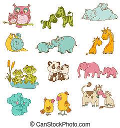 -, mano, vettore, animali, mamma, disegnato, bambino