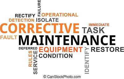 -, manutenzione, correttivo, parola, nuvola