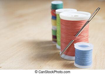 -, marco, derecho, carretes, algodón