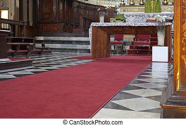 -, maria, rosso, santa, alta, bergamo, basilica, maggiore, moquette