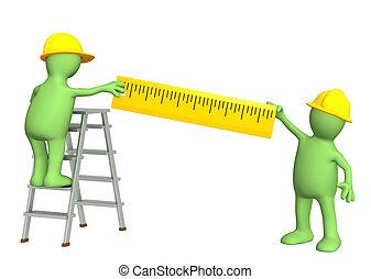 -, marionnettes, 3d, constructeurs, règle