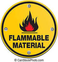 -, matériel, inflammable, rond, signe