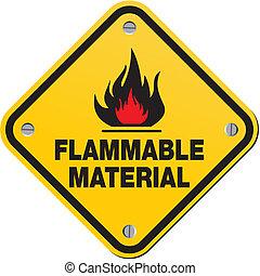 -, material, brennbar, gelbes zeichen