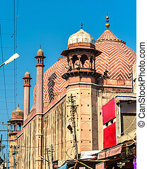 -, meczet, uttar, wielki, jama, indie, agra, masjid, pradesh