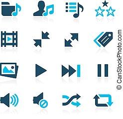 --, media, giocatore, azzurro, icone