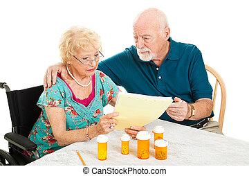 -, medisch, senior koppel, rekeningen