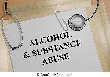 -, medisch, substantie misbruik, &, alcohol, concept