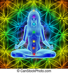 -, meditazione, capelli lunghi, vita, donna, fiore