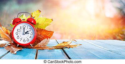 -, megtakarítás, hát, idő, napvilág, bukás