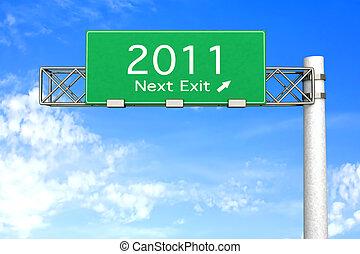 -, meldingsbord, afslaf, volgende, 2011, snelweg