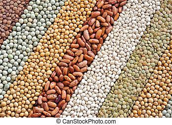 -, mengsel, achtergrond, erwtjes, droog, soybeans, bonen, lentils