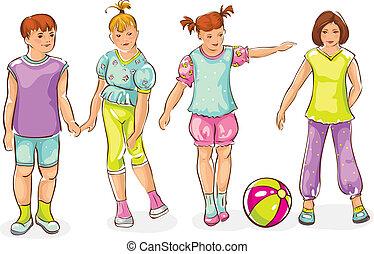 -, menino, esboço, jogo, meninas