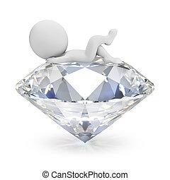 -, mensen, 3d, diamant, kleine, ligt