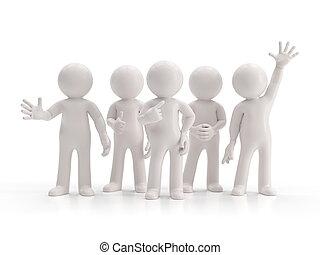 -, mensen, kleine groep, best, 3d