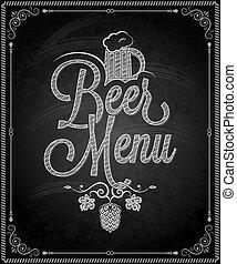 -, menu, piwo, ułożyć, chalkboard